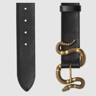 ae95088a5ed Black Leather belt with snake buckle