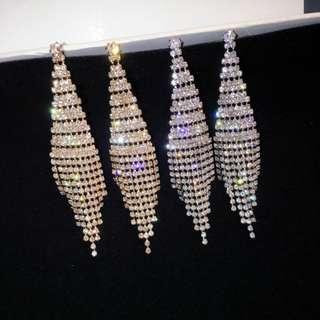 Silver Embellished Diamond Shaped Ear Rings