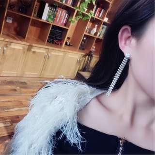 Silver Embellished Triple-Strand Ear Rings