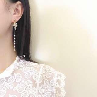 Gold Pearl Crystals Ear Rings