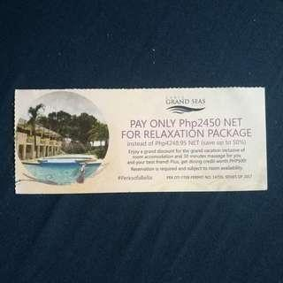 Less P1798 Subic Bay Grand Seas Relaxation Package FOR 2pax (Room, Food, Massage)
