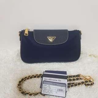 ON HAND: Authentic Prada BT0779 Tessuto Nylon Convertible Clutch Sling Bag in Bleu