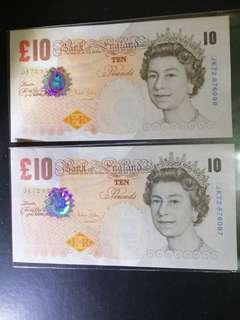QE Bank Of England 🏴󠁧󠁢󠁥󠁮󠁧󠁿 Ten Pounds Paper Series Run 2pcs