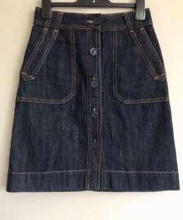 Gorman Denim Skirt Size 26 Button Down Organic Cotton Dark Denim Skirt