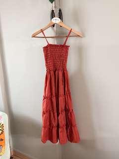 Vintage thrift ruffle midi dress (Brick Red)