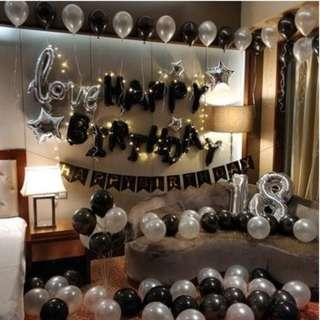 🚚 (In Stock)Silver n Black Theme Birthday Party Decoration Set