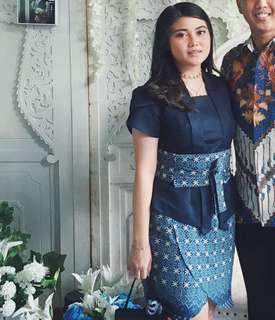 kutu baru kebaya modern 1 set batik belt dress