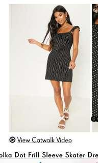 Pretty little thing plt women's black polka dot dress size 10 brand new with tags