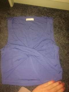 Kookai size 1 brand new blue slinky crop top wrap details