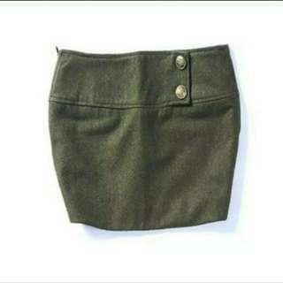 100%new 軍綠毛呢厚短裙 dark green felt skirt
