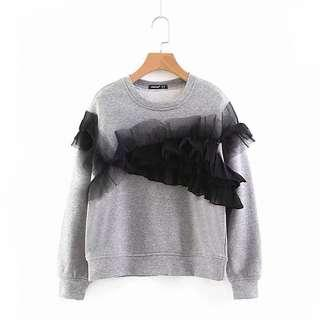 (More cols) ruffle trim mated Cotton Jersey Jumper