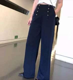 Zaraa inspired militant button tab wide pants