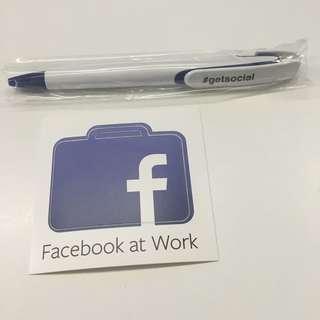 Facebook at work Pen & Sticker