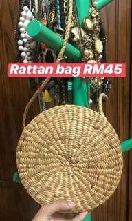 Rattan basket circular bag