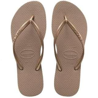 🚚 Authentic Havaianas Slim Slippers Thong Flip Flop in rose gold