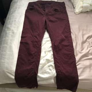 Uniqlo Maroon Ankle Length Chino Pants