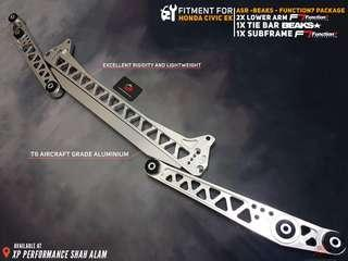 Subframe With Lower Arm and Tie Bar Set For Honda Civic EK Silver Set
