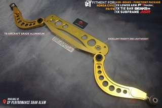 Subframe With Lower Arm and Tie Bar Set For Honda Civic FD FB Gold Set