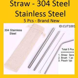 Straw - 304 Stainless Steel Straw - 5 pcs in a set