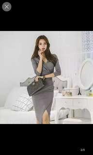Grey v cut bodycon dress