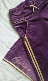 Adidas Violet and Gold Velour Track Pants