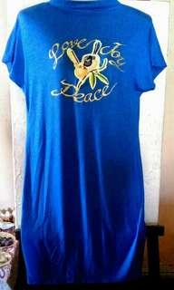 RoyalBlue Handpainted with Patch dress Medium