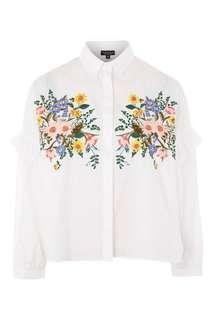 Topshop PETITE Embroidered Shirt