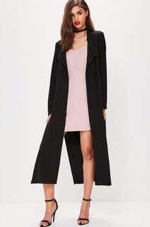 Missguided black duster coat