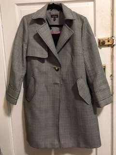 TopShop Houndstooth Black and White Winter Trench Coat