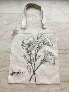floral hand drawn tote bags