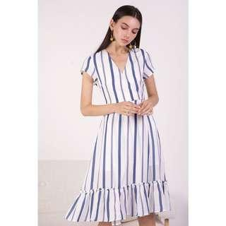 LAURA WRAP FRONT DRESS (BLUE STRIPES)