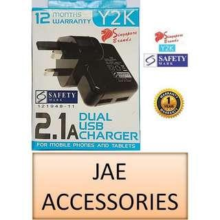 Y2K 2100mAh 2 USB Travel Charger