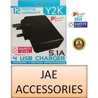 Y2K 5100mAh 4 USB Travel Charger