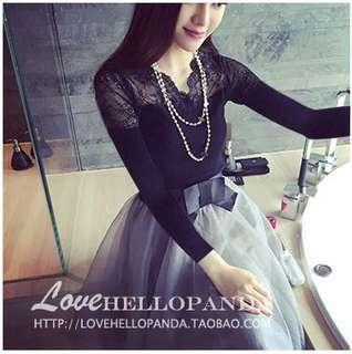 🚚 (56521)韓版蕾絲拼接針織打底衫(黑色)