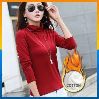 Turtle Neck Long Sleeve T-Shirts High Neck Warm Top Cotton Shirt Color