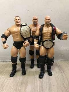 Jakks Pacific WWE Ruthless Aggression Superstars Brock Lesnar, Goldberg n Steve Austin Stone Cold Set Of 3