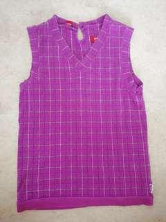 Esprit Purple Checkered Sleeveless Top