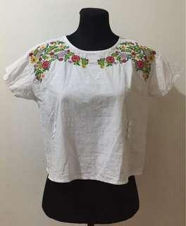 White Blouse w/ Floral Design