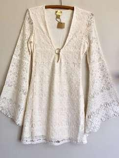 H&M Ivory Lace Dress Size 6 8 Lace Lined Dress Trumpet Sleeves NWT