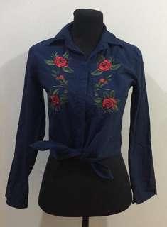 Blue Polo w/ Floral Design