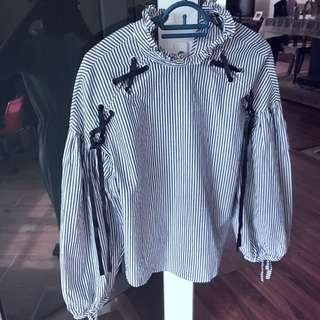 Zara Laced Up Blouse Top