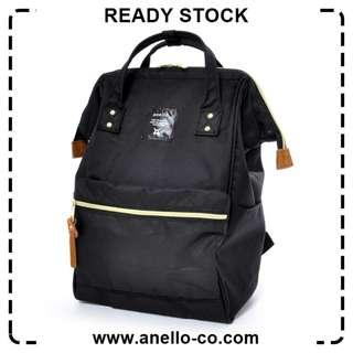 【Ready Stock】 Anello Polyester Canvas Mouthpiece Backpack (Black) AT-B0193A | 100% Authentic
