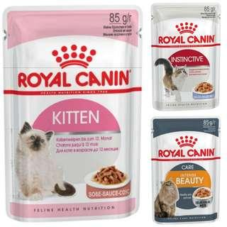 3 boxes of 12pkt 85g Royal Canin Wet food Pouch (Various)