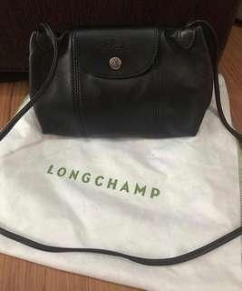 Authentic Long Champ leather black sling bag Small
