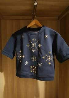 Navy Top with Beads