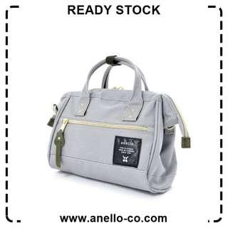 【Ready Stock】 Anello Polyester Canvas Mouthpiece Sling Bag (Light Gray) AT-H0851 | 100% Authentic