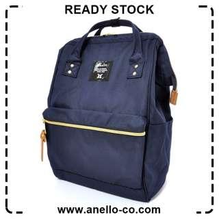 【Ready Stock】 Anello Polyester Canvas Mouthpiece Backpack (Navy) AT-B0193A | 100% Authentic