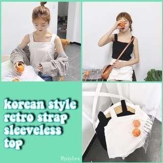 [po] korean style retro strap sleeveless top