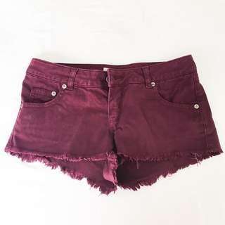 TOPSHOP purple maroon shorts