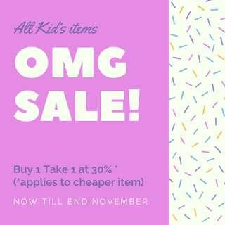 SALE All Kids Items! 30% on second item